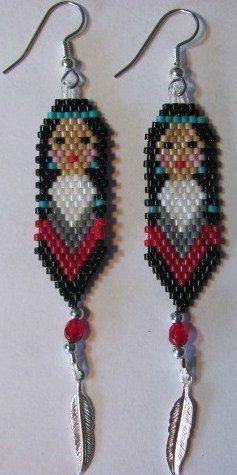 Hand Beaded Native American inspired Indian Maiden door beadfairy1