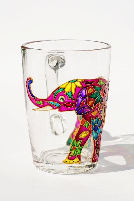 Indian Elephant, Elephant Mug,Trunk Up, Hippie Gift, Elephant Decor