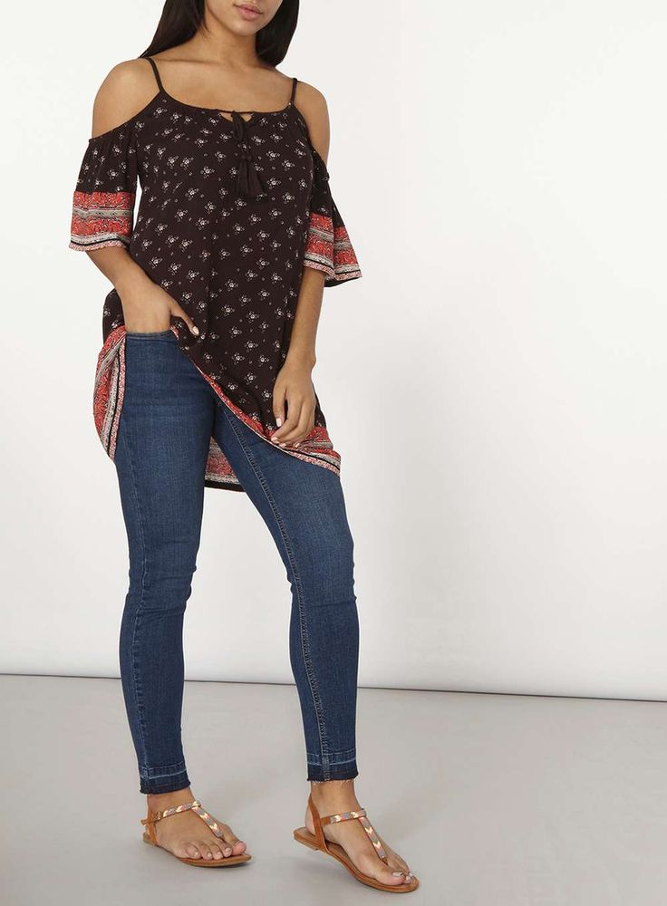 Womens Border Print Tunic- Black