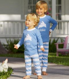 personalized easter pj's - You'll want to jump on this little item toot sweet. (They're just hopping out the door here.) Adorable appliquéd jammies embroidered with your child's name.