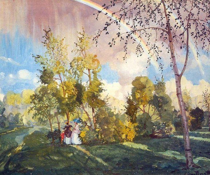 Paysage avec un arc-en-(2), huile sur toile de Konstantin Somov (1869-1939, Russia)