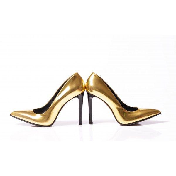 Golden Leather Stiletto