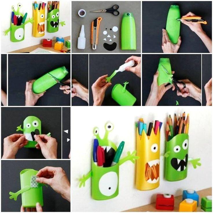 Foto: ★ ✄ DIY Bricolage Récup Enfants / DIY Shampoo Bottle Monster Pencil Holder ✄ ★ www.creamalice.com
