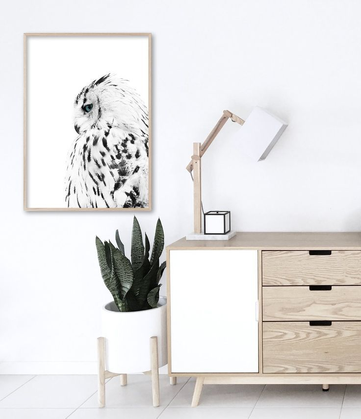 Owl Print | Scandinavian Living Room | Black and White Print | Scandinavian Interior | Owl Art Print | Scandinavian Art. Wall Art by Little Ink Empire