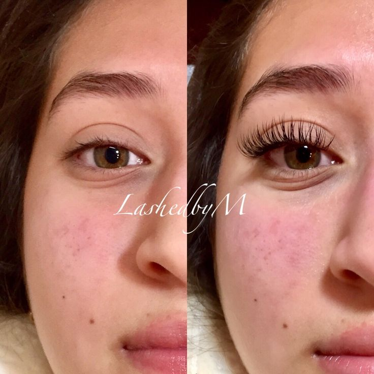 Before and after individual eyelash extensions by Monique Rodgers