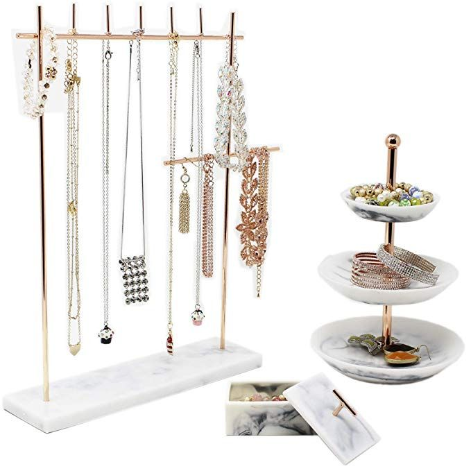 Rose Gold Jewelry Organizer Set 3 Easily Organize Necklaces Earrings Rings Bracelets Incl 12 5 H Jewelry Rack Rose Gold Jewelry Jewelry Rack Tiered Ring