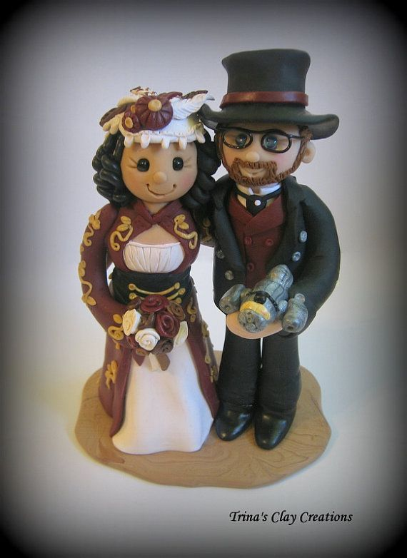 Steampunk Wedding Cake Topper by Trina's Clay Creations
