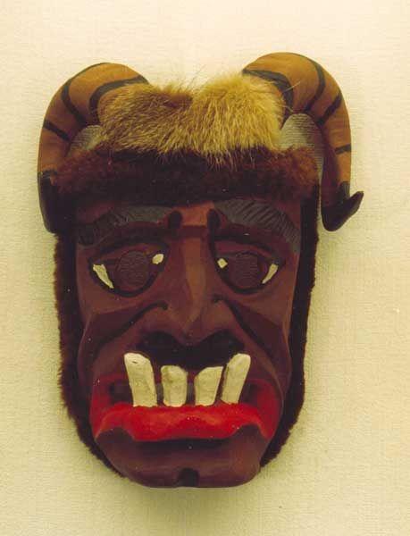 ETNOGRAFIA / Maska Diabła z grupy żywieckich przebierańców noworocznych Dziady, wyk. Józef Kupczak, Żabnica 1984