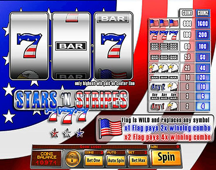 Stars And Stripes free #slot_machine #game presented by www.Slotozilla.com - World's biggest source of #free_slots where you can play slots for fun, free of charge, instantly online (no download or registration required) . So, spin some reels at Slotozilla! Stars And Stripes slots direct link: http://www.slotozilla.com/free-slots/stars-stripes