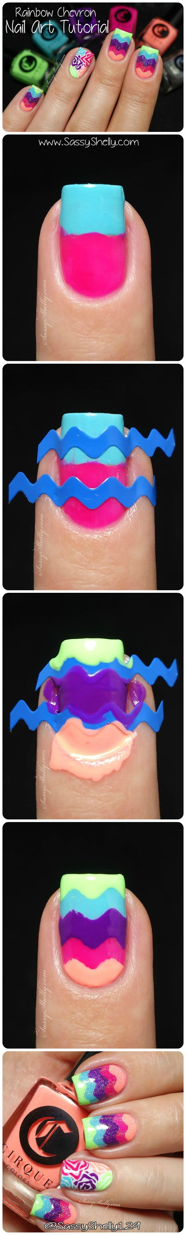 Easy step-by-step Nail Art Tutorial - How to create a Chevron nail vinyl design with more than 2 colors! Featuring the Cirque Vice neon collection and reverse stamping accent with Bundle Monster. | Sassy Shelly.