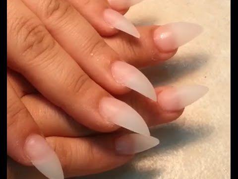 How to Stiletto Acrylic Finger Nails Shape - YouTube