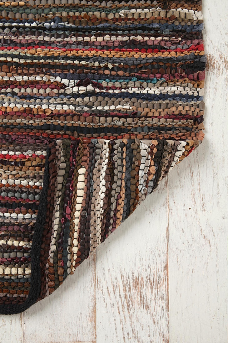 Leather scrap rag rug.....rags to riches?