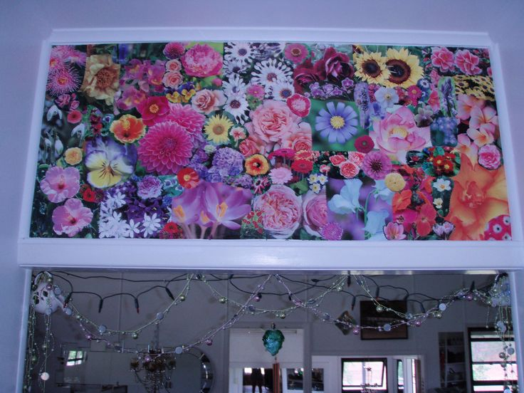 mod podge flowers in the hallway