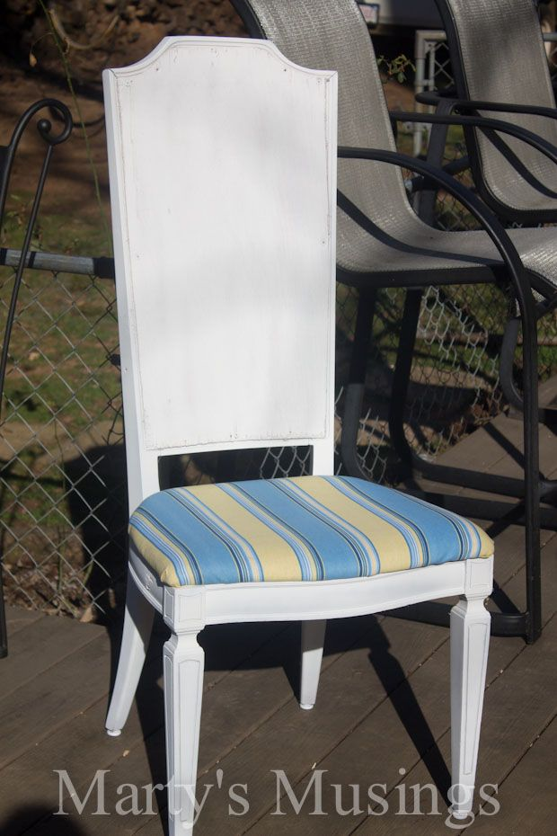 Transform Your Old Cane Back Chairs With A Little Plywood Fabric And Paint