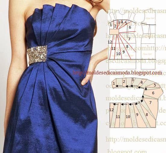 TRANSFORMAÇÃO MOLDE DE VESTIDO Desenhe o molde base frente inteira e costas. Desenhe o decote na frente e costas. Desenhe a altura do vestido na frente e c