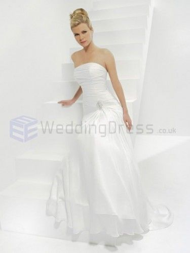 A-line Chiffon Ruched Bodice Strapless Neckline Sweep Train Wedding Dresses