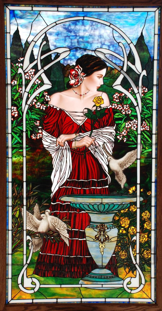 """Beautiful Woman in Rose Garden stained glass art (41""""x76"""") by Bogenrief Studios"""