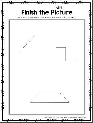 Finish the Picture - Get Creative!  Here's another great activity for the first day of school or anytime during the year that your students need a brain break! Give each student a copy of the page and let them complete the picture creating a scene from the marks already drawn. This can also be a great lesson about how we are all unique and see things in different ways. No two students' pictures will turn out the same!  Visit my BLOG to get this free download!  3-5 art First Day of School…