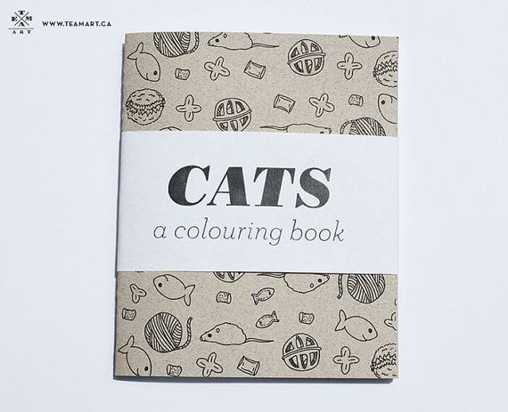 Cats A Mini Colouring Book 4 X 5 In By TeamArt On Etsy