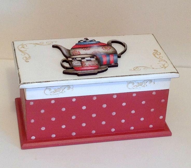 Caixa de chá c/ 2 divisões - Bule/xícara | Atelier Marcia Campos | Elo7