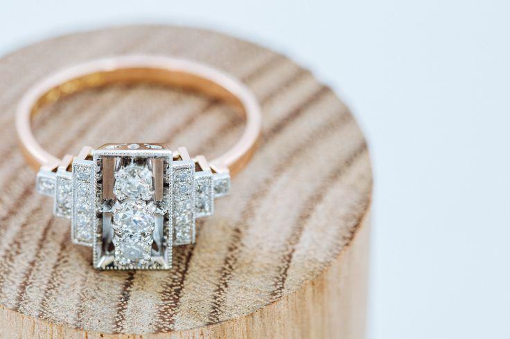 Platinum and 750 rose gold handmade engagement ring. #Custom #Design #Luxury #Engagement #Bridal #Wedding #Jewellery #MasterJeweller #TerryCockrem #RoseandCrownJewellers #Platinum #Gold #Diamond #Sapphire #Emerald