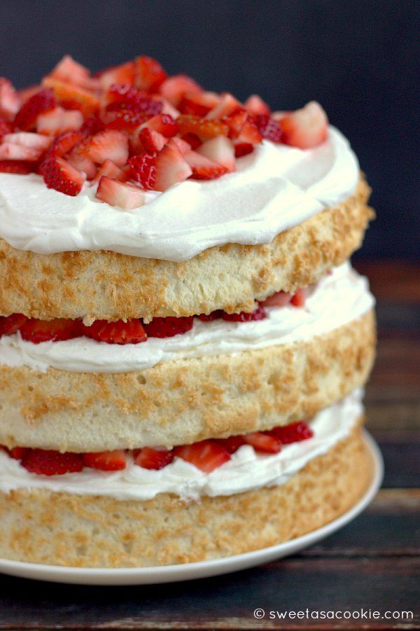 Strawberry Shortcake takes angel food cake to a whole new level with fresh strawberries and whipped cream