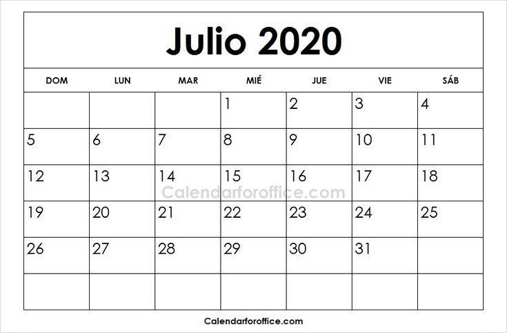 Calendario Julio 2020 Para Imprimir.Calendario 2020 Julio Para Imprimir 2020 Calendar June 2019