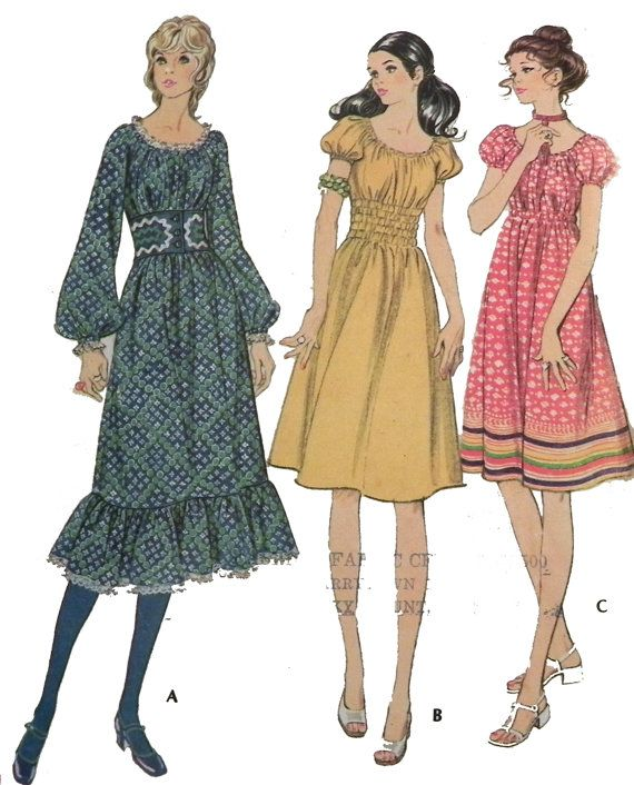 1970s Boho Hippie Dress sewing pattern by retroactivefuture, $12.00