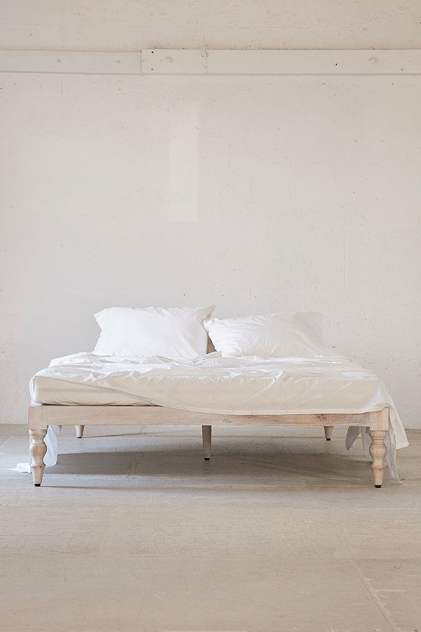 Slide View: 2: Bohemian White Wood Platform Bed