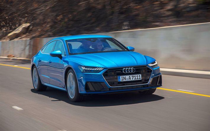 Download wallpapers Audi A7 Sportback S-Line, 4k, road, 2018 cars, new A7 Sportback, Audi