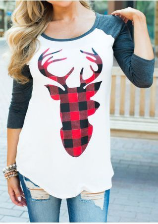 b418bbed Christmas Reindeer Printed Plaid T-Shirt - Bellelily | cowgirl in ...