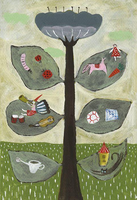 Peaceful afternoon by Tetsuhiro Wakabayashi   acrylic on Japanese illustration board