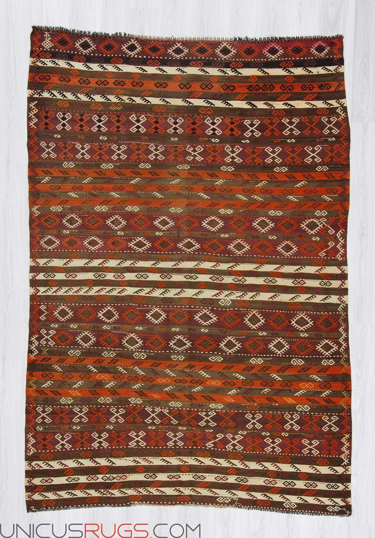 """Vintage kilim rug from Malatya region of Turkey. In very good condition. Approximately 50-60 years old. Width: 6' 4"""" - Length: 9' 3"""" Embroidered Kilims"""