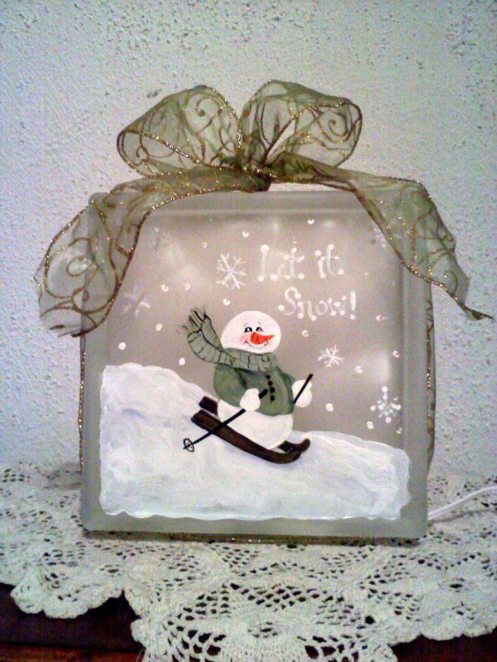 """""""Let it Snow"""" snowman painted glass block Oh boy oh boy finally i have a vision of this years painting. he he he."""