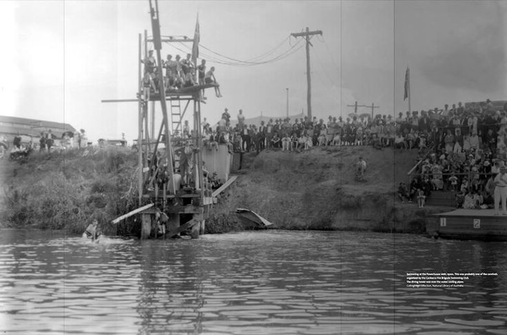 Swimming at the Powerhouse weir, 1920s. This was probably one of the carnivals organised by the Canberra Fire Brigade Swimming Club. The diving tower was over the water cooling pipes. (Collingridge collection, National Library of Australia) With Thanks to https://www.facebook.com/kingstonforeshorecanberra/photos/pb.339841379449293.-2207520000.1413613679./552091248224304/?type=3&theater