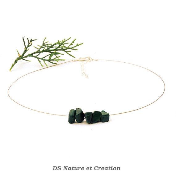 Malachite delicate necklace dainty choker by DSNatureetCreation www.etsy.com/listing/234782857/malachite-delicate-necklace-dainty