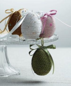 Veľkonočné ozdoby - saténové vajíčka a kraslice zdobené textilom | Hand Made | Hand Made | Rodinka.sk