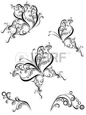 Set tattoo butterfly