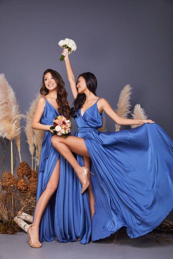 Sapphire Blue Silk Wrap Dress Sapphire Bridesmaid Dress Silk Etsy In 2020 Silk Wrap Dresses Blue Evening Dresses Bridesmaid Dresses