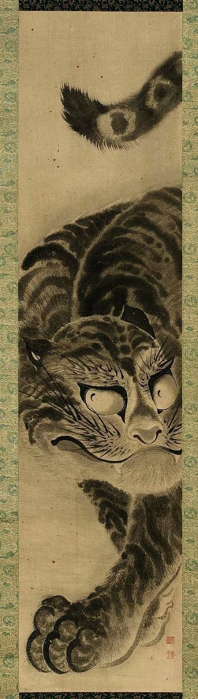 Tiger 虎図 by Soga Shouhaku 曽我蕭白 (1730–1781). One hanging scroll, 119.1 x 28.6 cm. Japan