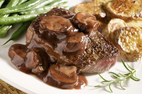 Use this recipe to make a delicious Red Wine Mushroom sauce to serve on top of perfectly seasoned steaks.