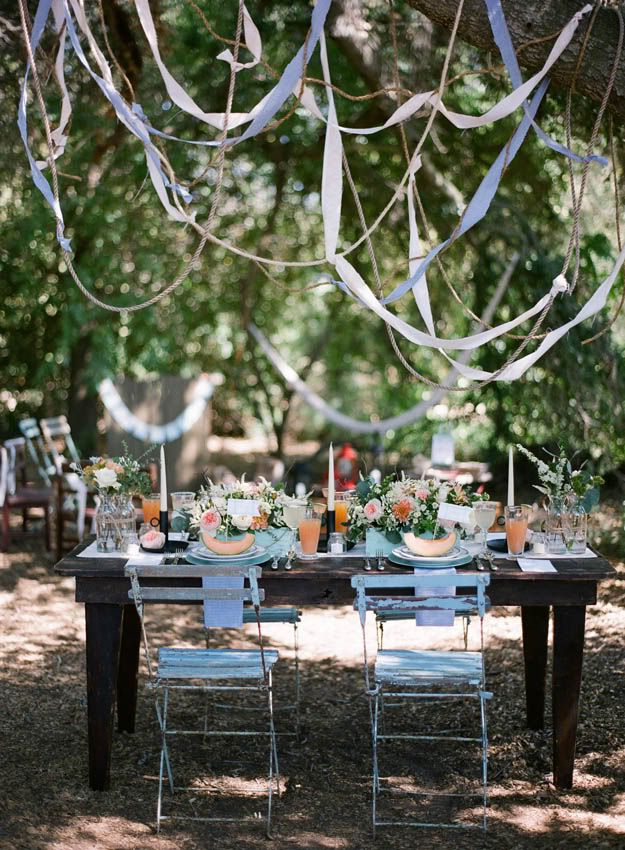 summer wedding...I can see the streamers in moms weeping cherry tree...I think it would be pretty...or ribbon?