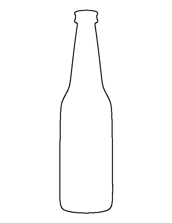 Beer bottle pattern. Use the printable outline for crafts, creating stencils, scrapbooking, and more. Free PDF template to download and print at http://patternuniverse.com/download/beer-bottle-pattern/