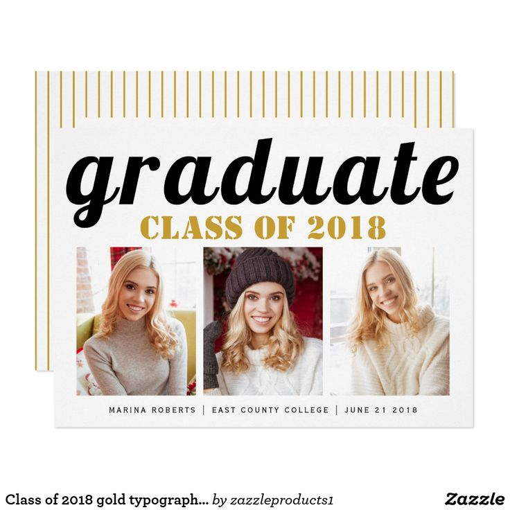 EDITABLE Class of 2018 graduate handwritten typography black and gold graduation party photo collage invitation with three photos. You can change the gold of text ans background to any color!