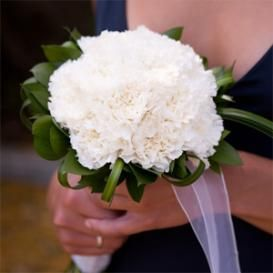 White carnations just add some black ribbon & its perfect for my wedding