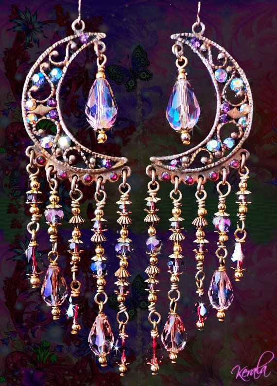 RESERVED FOR KAREN- Sparkly Pink Crystal Celestial Chandelier Earrings- Fantasy Pink and Purple