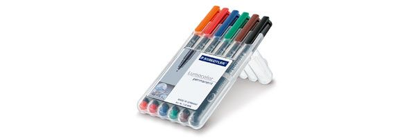 Staedtler Lumocolor Marker Pen Permanent Superfine Wallet of 6