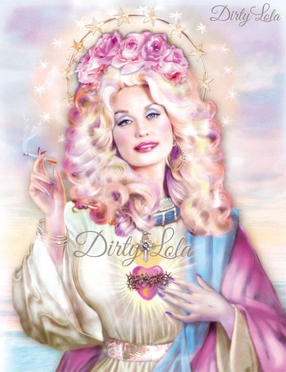 Show your love for Dolly Parton with this holy depiction of the Saint Dolly. Glam and fierce, this woman knows that it takes a lot of money to look