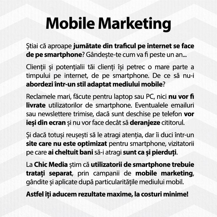 La Chic Media știm că utilizatorii de #smartphone trebuie tratați separat, prin campanii de #mobile #marketing, gândite și aplicate după particularitățile mediului mobil.  Astfel îți aducem rezultate maxime, la costuri minime!  http://ChicMediaGroup.ro/