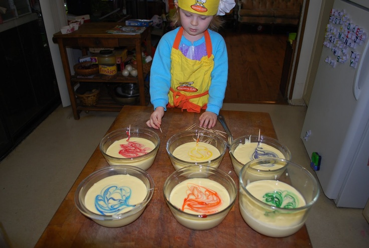 Cooking day: Have your child help make rainbow cupcakes